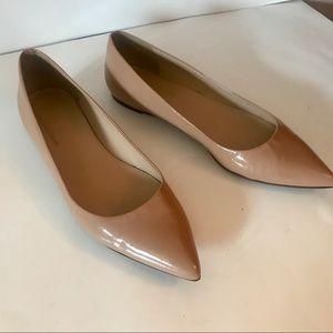 J Crew Viv Patent Leather Flats: Nude Colour